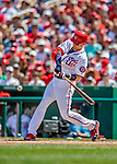 14 April 2018: Washington Nationals catcher Matt Wieters hits a solo home run in the 4th inning against the Colorado Rockies at Nationals Park in Washington, DC. The Nationals rallied to defeat the Rockies 6-2 in the 3rd game of their 4-game series. Mandatory Credit: Ed Wolfstein Photo *** RAW (NEF) Image File Available ***