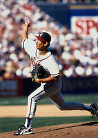 Dennis Martinez of the Atlanta Braves participates in a baseball game at Qualcomm Stadium during the1998 season in San Diego, California. (Larry Goren/Four Seam Images)