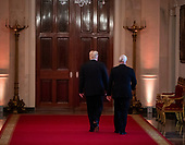 United States President Donald J. Trump and US Vice President Mike Pence depart after a news conference in the East Room, on Wednesday, Nov. 7, 2018 at the White House in Washington, D.C. <br /> Credit: Al Drago / Pool via CNP