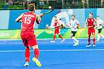 Emmanuel Stockbroekx #15 of Belgium controls an aerial ball during Argentina vs Belgium  in the men's gold medal game at the Rio 2016 Olympics at the Olympic Hockey Centre in Rio de Janeiro, Brazil.