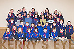 PRESENTATIONS: At Kilmoyley Community Centre on Monday night, Angela Stack (PRO Kerry County Scouts) presented Thank You Medals to Scout Leaders Adrian Godley and Patricia Claffey and also a cheque for 120 to Ann O'Shea and Mary Bonn of the Kerry General Hospital Childrens Ward. The money was raised by the Kilmoyley 9th Beavers and Cubs. They were Rachel O'Mahony, Shane Monahan, Liam Claffey, Robert Stack, Joanne Meehan, Shauna Crowe, Aisling Leen, Maura Godley, Killian Horgan, Seona Regan, Eilish Harrington, Sarah O'Sullivan, Jarleth Barrett, Isobel Horgan, Christopher Lynch, Ronan Godley, Hamish Irvine, Colin Stack, Marianne Nolan, John O'Mahony, Colin O'Halloran, Elizabeth Meehan, Killian Heanue, Richard Flaherty, Maurice O'Connor, Owen O'Sullivan and Michael Leen. Leaders were Joan Sheehy, Catherine O'Sullivan, Eileen Leen, Bernie O'Mahony and Fiona Lonergan..
