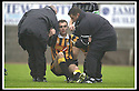 02/11/2002                   Copyright Pic : James Stewart.File Name : stewart-east fife v albion 09.A DAZED LOOKING MICHAEL HALL IS LIFTED OFF THE GROUND AFTER BEING CAUGHT ON THE HEAD....Payments to :-.James Stewart Photo Agency, 19 Carronlea Drive, Falkirk. FK2 8DN      Vat Reg No. 607 6932 25.Office     : +44 (0)1324 570906     .Mobile  : +44 (0)7721 416997.Fax         :  +44 (0)1324 570906.E-mail  :  jim@jspa.co.uk.If you require further information then contact Jim Stewart on any of the numbers above.........