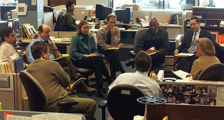 Sandy's Roundtable at Newsday on Thursday March 24, 2005. (Photo by Jim Peppler 2005).