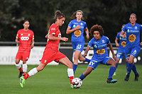 20190823 – OOSTAKKER, BELGIUM : Gent's Kassandra Missipo (R) and Standard's Justine Blave  pictured during a women soccer game between AA Gent Ladies and Standard Femina de Liege on the first matchday of the Belgian Superleague season 2019-2020 , the Belgian women's football  top division , friday 23 th August 2019 at the PGB Stadium Oostakker in Gent  , Belgium  .  PHOTO SPORTPIX.BE | DIRK VUYLSTEKE