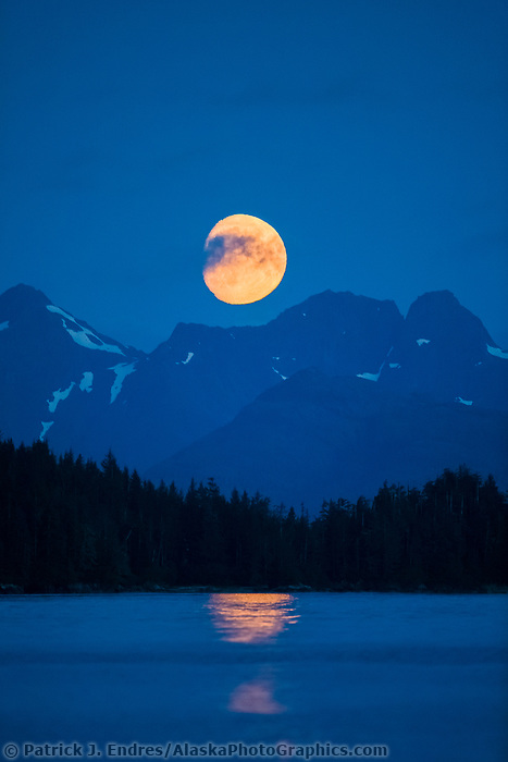 Moonrise over the Kenai Mountains, Prince William Sound, Alaska.