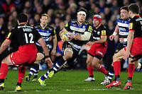 Francois Louw of Bath Rugby goes on the attack. Aviva Premiership match, between Bath Rugby and Saracens on April 1, 2016 at the Recreation Ground in Bath, England. Photo by: Patrick Khachfe / Onside Images