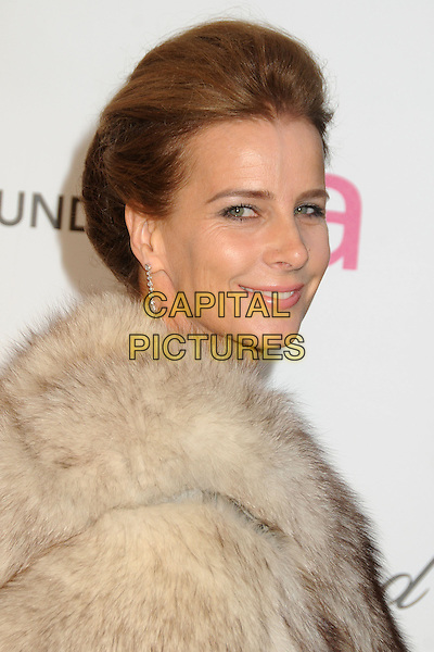Rachel Griffiths.21st Annual Elton John Academy Awards Viewing Party held at West Hollywood Park, West Hollywood, California, USA..February 24th, 2013.oscars headshot portrait dangling earrings beige cream brown fur wrap side.CAP/ADM/BP.©Byron Purvis/AdMedia/Capital Pictures.