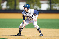 Ryan Busch (1) of the Georgetown Hoyas takes his lead off of first base against the Marshall Thundering Herd at Wake Forest Baseball Park on February 15, 2014 in Winston-Salem, North Carolina.  The Thundering Herd defeated the Hoyas 5-1.  (Brian Westerholt/Four Seam Images)
