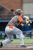 Bowling Green Falcons second baseman Derek Drewes (5) squares to bunt against the Michigan Wolverines on April 6, 2016 at Ray Fisher Stadium in Ann Arbor, Michigan. Michigan defeated Bowling Green 5-0. (Andrew Woolley/Four Seam Images)