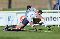 Robbie Fergusson of London Scottish scores a late try during the Greene King IPA Championship match between London Scottish Football Club and Bedford Blues at Richmond Athletic Ground, Richmond, United Kingdom on 25 March 2017. Photo by David Horn / PRiME Media Images.