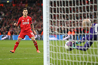 Philippe Coutinho of Liverpool looks on as his penatly is saved by Wilfredo Caballero of Manchester City during the Capital One Cup match between Liverpool and Manchester City at Wembley Stadium, London, England on 28 February 2016. Photo by David Horn / PRiME Media Images.
