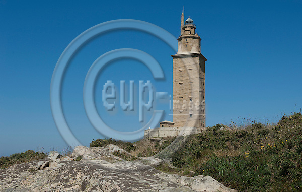 La Coruña (Coruna)-Galicia-Spain, August 13, 2009 -- The Tower of Hercules (Torre de Hércules), ancient Roman lighthouse -- culture, tourism, landmark -- Photo: Horst Wagner / eup-images