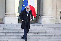 PARIS , PALAIS DE L'ELYSEE LE 18 / 01 / 2017<br /> SORTIE DU CONSEIL DES MINISTRES<br /> BRUNO LEROUX , MINISTRE DE L'INTERIEUR