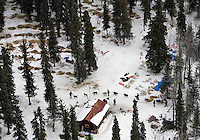 Gene L Smith arrives and is checked in at the Rohn checkpoint in this aerial photo on Tuesday during Iditarod 2008
