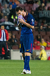 Lionel Andres Messi of FC Barcelona wipes the rain from his face during the UEFA Champions League 2017-18 match between FC Barcelona and Olympiacos FC at Camp Nou on 18 October 2017 in Barcelona, Spain. Photo by Vicens Gimenez / Power Sport Images