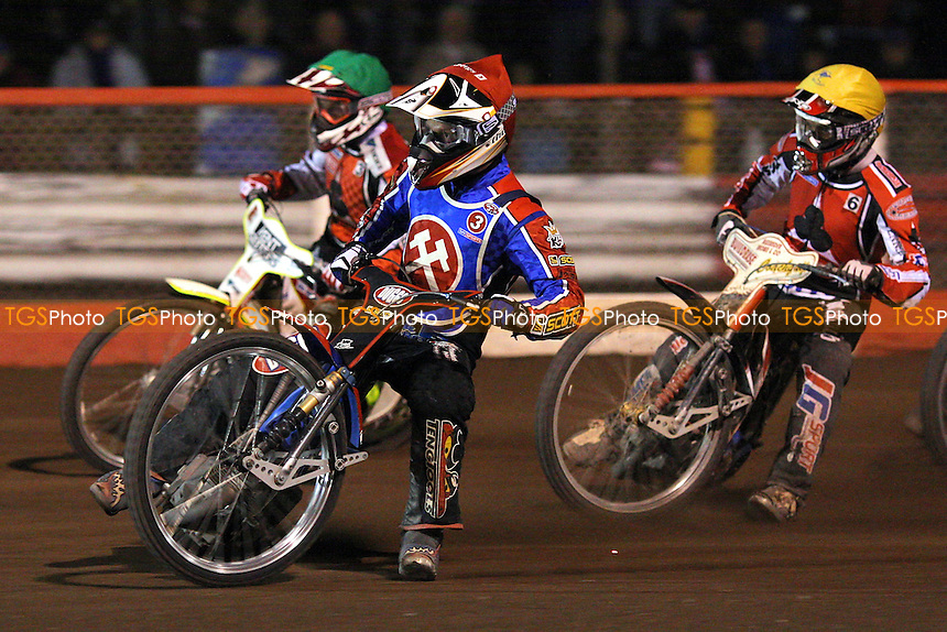 Heat 12: Jonsson (red), Gjedde (green) and Ksiezak - Lakeside Hammers vs Belle Vue Aces - Sky Sports Elite League Speedway at Arena Essex, Purfleet - 10/09/08 - MANDATORY CREDIT: Gavin Ellis/TGSPHOTO - Self billing applies where appropriate - 0845 094 6026 - contact@tgsphoto.co.uk - NO UNPAID USE.