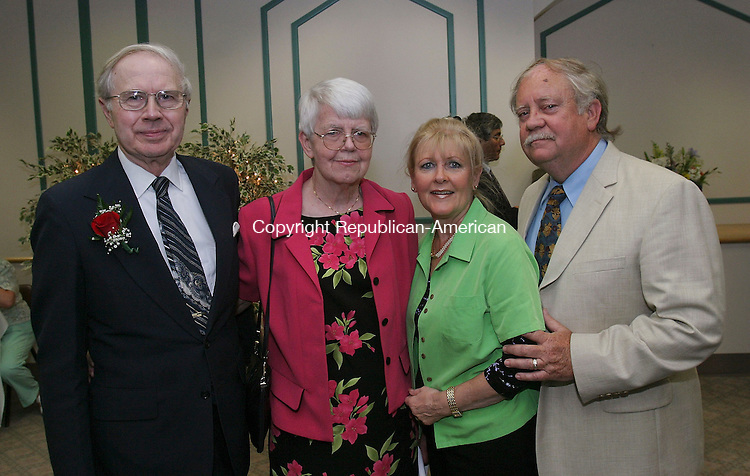 WATERBURY, CT -21 June 2005 -062105BZ15- From left- David Reed, of Middlebury and his wife Joan Reed, who gave $1 million to name the cardiology center; Marna Nolan, of Naugatuck; and her husband Tom Nolan, of Naugatuck, members of Hillside Covenant Church, <br /> <br /> during the dedication of the Reed Cardiology Service at Waterbury Hospital Tuesday night. <br /> Jamison C. Bazinet Photo