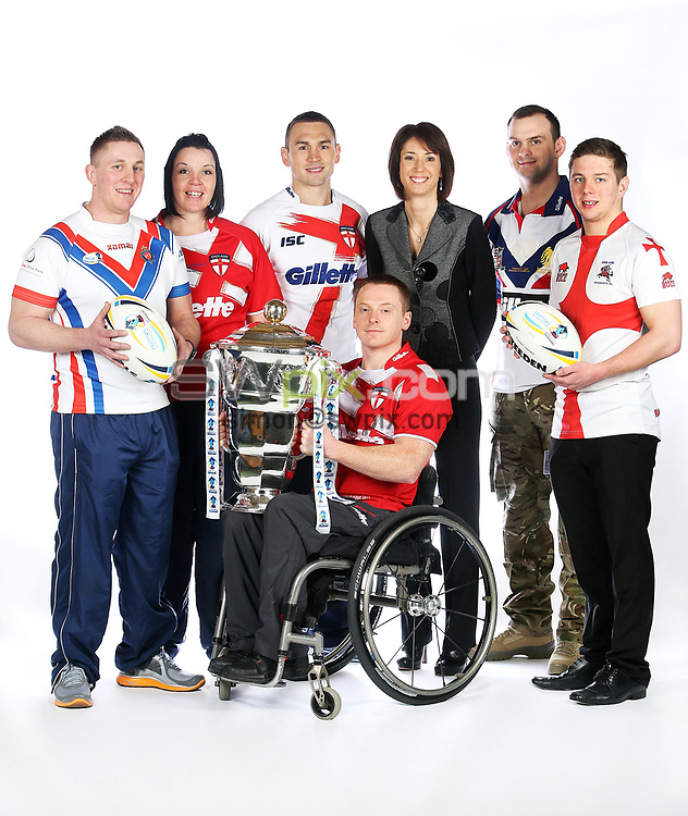 PICTURE BY VAUGHN RIDLEY/SWPIX.COM - Rugby League - World Cup 2013 - Festival of World Cups Launch - Leeds Civic Hall, Leeds, England - 12/02/13 - The RFL is hosting The Festival of World Cups this summer featuring separate competitions for Women, Wheelchair, Police, Student and Armed Forces with the Men's RLWC 2013 taking place this autumn.  The 6 England Captains (L-R) - Adam Newton of GB Police RL, Emma Slowe of England Women RL, Kevin Sinfield of England RL, Andy Wharton of England Wheelchair RL, Chris Gordon of GB Armed Forces RL and Alistair Leek of England Student RL along with the BBC's Tanya Arnold.