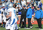Pahranagat Valley Head Coach Ken Higbee, center, works the sidelines in the NIAA DIV championship game at Dayton High School in Dayton, Nev., on Saturday, Nov. 21, 2015. PVHS won 54-28. (Cathleen Allison/Las Vegas Review Journal)