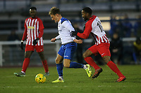 Scott Thomas of Enfield ans Jerson Dos Santos of Folkestone during Enfield Town vs Folkestone Invicta, BetVictor League Premier Division Football at the Queen Elizabeth II Stadium on 16th November 2019