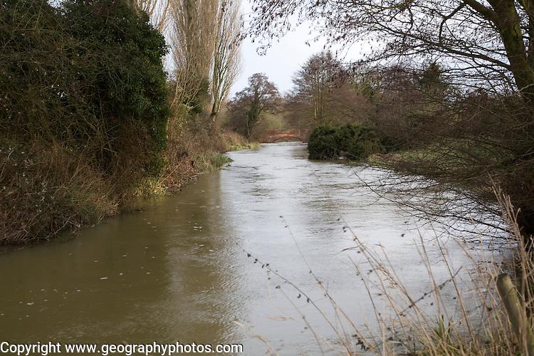 River Deben under bankful conditions at Ufford, Suffolk, England