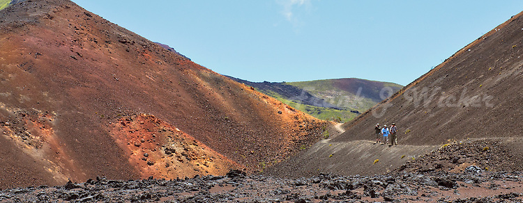 Three male hikers at the Pele's Paint Pot near the Bottomless Pit in the crater of Halekala National Park on Maui on an almost cloudless day
