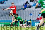 Caoilm Teahan Glenbeigh Glencar in action against Eamon Ward Rock Saint Patricks in the Junior Football All Ireland Final in Croke Park on Sunday.