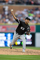 Chicago White Sox relief pitcher Gregory Infante (63) delivers a pitch to the plate against the Detroit Tigers at Comerica Park on June 2, 2017 in Detroit, Michigan.  The Tigers defeated the White Sox 15-5.  (Brian Westerholt/Four Seam Images)