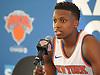 Frank Ntilikina #11 of the New York Knicks speaks during the team's Media Day held at Madison Square Garden Training Center in Greenburgh, NY on Monday, Sept. 25, 2017.