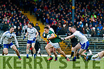 Dara Moynihan  Kerry in action against Dermot Malone and Colm Lennon Monaghan during the Allianz Football League Division 1 Round 5 match between Kerry and Monaghan at Fitzgerald Stadium in Killarney, on Sunday.
