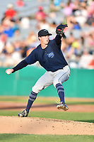 Mobile BayBears starting pitcher Griffin Canning (30) delivers a pitch during a game against the Tennessee Smokies at Smokies Stadium on June 2, 2018 in Kodak, Tennessee. The BayBears defeated the Smokies 1-0. (Tony Farlow/Four Seam Images)