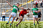 Kerry team mates Stephen O'Brien Kenmare and Jonathan Lyne Legion collide during their Club Championship s/f in Fitzgerald Stadium on Sunday