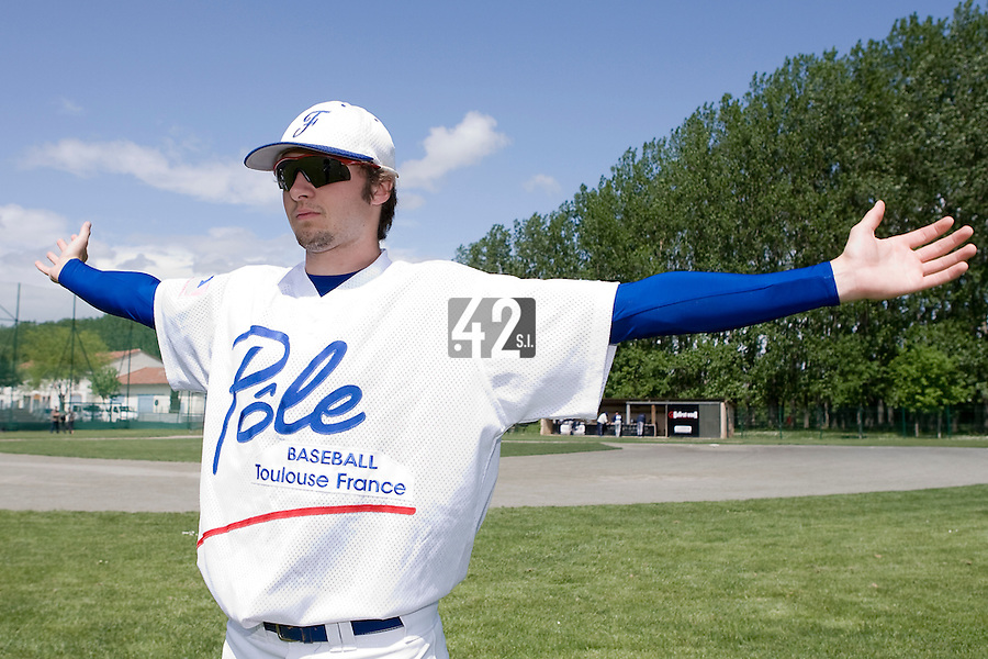 30 April 2008: Jonathan Dechelle of France warms up during the first of seven 2008 MLB European Academy Try-out Sessions throughout Europe, at Stade Kandy Nelson Ball Park, in Toulouse, France. Try-out sessions are run by members of the Major League Baseball Scouting Bureau with assistance from MLBI staff.