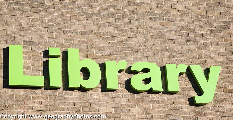 Green lettering sign for Library