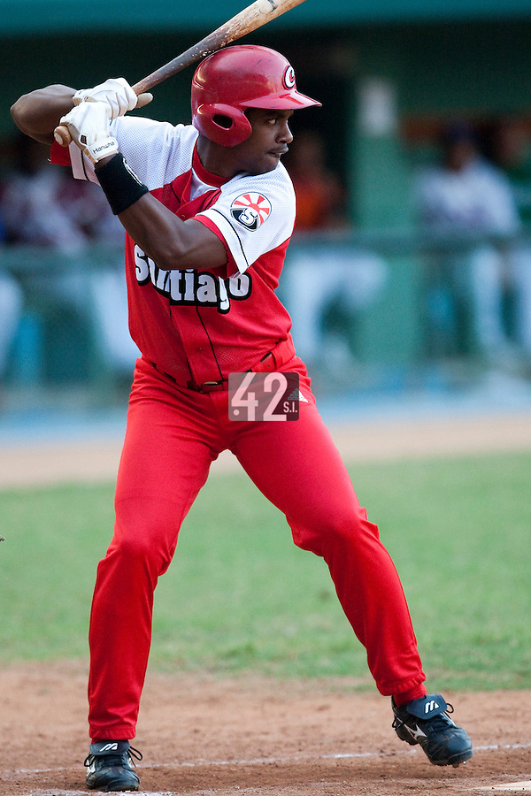 15 February 2009: Luis Miguel Nava of the Orientales is seen at bat during a training game of Cuba Baseball Team for the World Baseball Classic 2009. The national team is pitted against itself, divided in two teams called the Occidentales and the Orientales. The Orientales win 12-8, at the Latinoamericano stadium, in la Habana, Cuba.