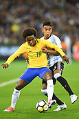 June 9th 2017, Melbourne Cricket Ground, Melbourne, Australia; International Football Friendly; Brazil versus Argentina; Willian Silva of Brazil and Jose Luis Gomez of Argentina compete for the ball