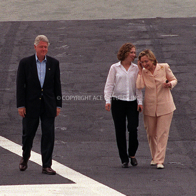 PRESIDENT CLINTON WITH WIFE HILARY AND DAUGHTER CHELSEA  ARRIVE ONBOARD THE USS JOHN F. KENNEDY IN NEW YORK HARBOUR TO CELEBRATE THE 4TH OF JULY. New York, July 4, 2000...Please byline: AJ SOKLANER/NY Photo Press.   ..*PAY-PER-USE*      ....NY Photo Press:  ..phone (646) 267-6913;   ..e-mail: info@nyphotopress.com