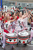 London, England. 31 August 2015. Drummers from Batala on parade. Performers and revellers were in good spirits despite a second years of heavy rain on the Adult Day of Notting Hill Carnival. Photo: Bettina Strenske