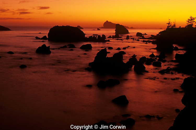 Sunset along Northern California coastline at sunset with silhouetted rock formations Crescent City California USA