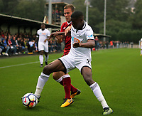 Pictured: Jordan Garrick of Swansea (R).  Friday 11 August 2017<br /> Re: Premier League 2, Division 1, Swansea City U23 v Liverpool U23 at the Landore Training Ground, Swansea, UK