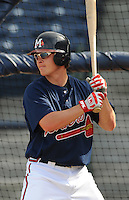 10 April 2008: Mark Jurich (16) of the Mississippi Braves, Class AA affiliate of the Atlanta Braves, in a game against the Mobile BayBears at Trustmark Park in Pearl, Miss. Photo by:  Tom Priddy/Four Seam Images