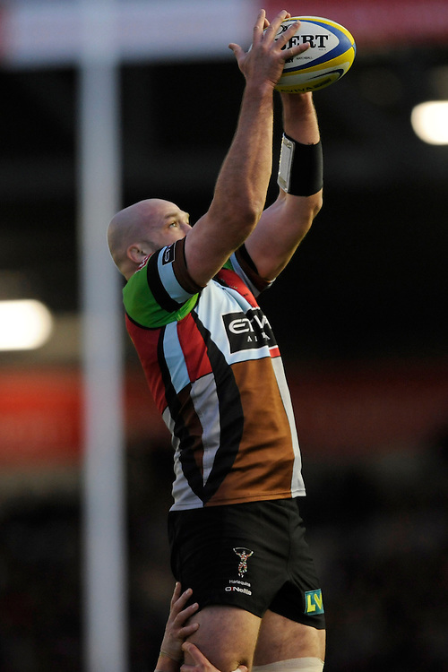 George Robson of Harlequins secures the lineout ball during the Aviva Premiership match between Harlequins and Leicester Tigers at the Twickenham Stoop on Friday 18th April 2014 (Photo by Rob Munro)