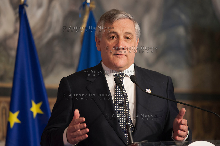 Rome, Italy, March 25,2017. European Parliament President Antonio Tajani, attends the meeting in the Orazi and Curiazi Hall at the Palazzo dei Conservatori during an EU summit in Rome. European Union leaders were gathering in Rome to mark the 60th anniversary of their founding treaty and chart a way ahead following the decision of Britain to leave the 28-nation bloc.