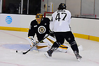 September 15, 2017: Boston Bruins left defenseman Torey Krug (47) takes a shot on goalie Anton Khudobin (35) during the Boston Bruins training camp held at Warrior Ice Arena in Brighton, Massachusetts. Eric Canha/CSM