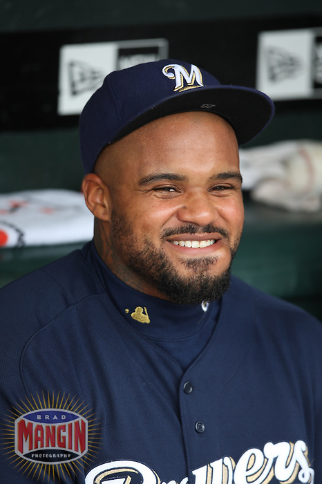 SAN FRANCISCO - APRIL 9:  Prince Fielder of the Milwaukee Brewers sits in the dugout before the game against the San Francisco Giants at AT&T Park on April 9, 2009 in San Francisco, California. Photo by Brad Mangin