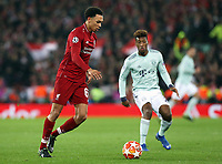 Liverpool's Trent Alexander-Arnold and Bayern Munich's Kingsley Coman<br /> <br /> Photographer Rich Linley/CameraSport<br /> <br /> UEFA Champions League Round of 16 First Leg - Liverpool and Bayern Munich - Tuesday 19th February 2019 - Anfield - Liverpool<br />  <br /> World Copyright © 2018 CameraSport. All rights reserved. 43 Linden Ave. Countesthorpe. Leicester. England. LE8 5PG - Tel: +44 (0) 116 277 4147 - admin@camerasport.com - www.camerasport.com