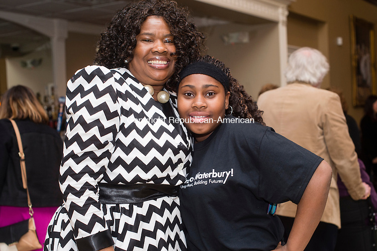WATERBURY, CT- 23 March 2016-032316EC02-  Social Moments. From L to R: Pamela Johnson and Imani Johnson attended a fundraising event for the Children's Community School at La Bella Vista in Waterbury, which featured a silent auction and dance performances. Erin Covey Republican-American