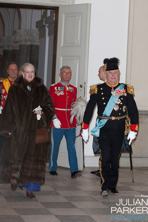 Queen Margrethe, and Prince Henrik of Denmark attend the New Year Court for diplomats at Christiansborg Palace, in Copenhagen, Denmark.