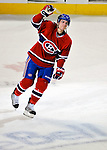 23 January 2010: Montreal Canadiens' left wing forward Mike Cammalleri acknowledges cheers from the fans as he returns to the ice after being named first star of the game against the New York Rangers at the Bell Centre in Montreal, Quebec, Canada. The Canadiens shut out the Rangers 6-0. Mandatory Credit: Ed Wolfstein Photo