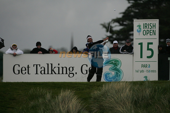 Julien CLÉMENT playing the 15th after play restarted on day 3 at the 3 Irish open in Co Louth Golf Club...Photo: Fran Caffrey/www.golffile.ie..
